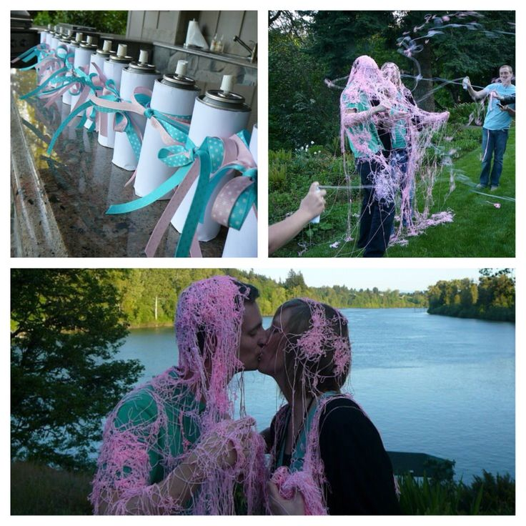 Gender reveal with silly string! @Morgan Law