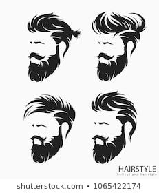 Set Of Mens Hairstyle With Beard Mustache Fashion In 2019 Mens
