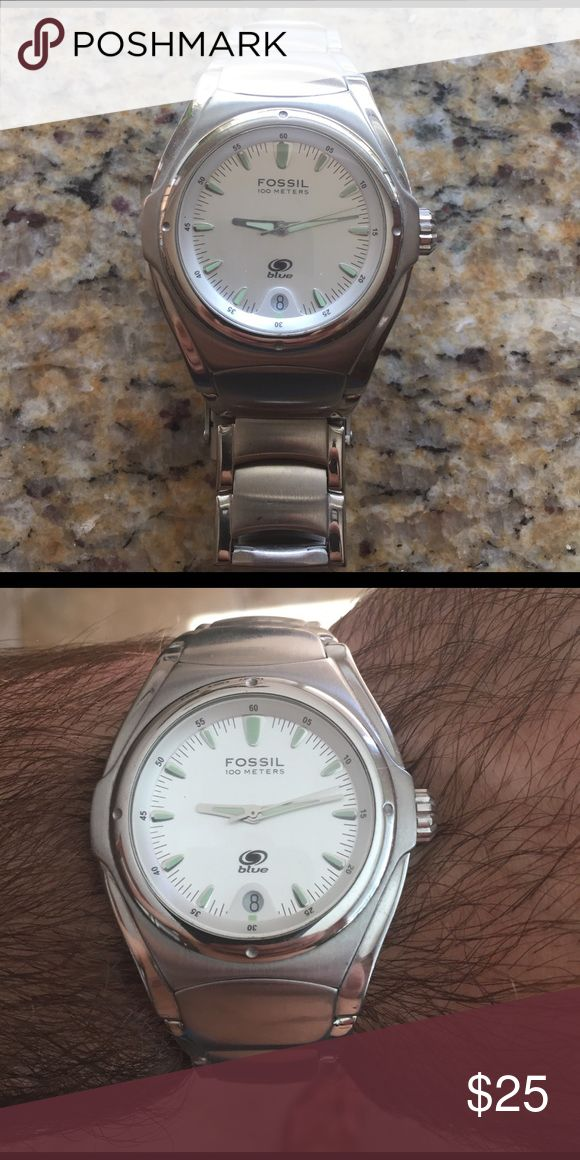 Fossil Blue watch Used FOSSIL blue watch.  Needs battery Accessories Watches