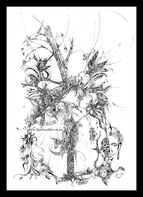 """""""Growth""""  -Conscious Drawing by Source - Inspirational, Intuitive Art: size A3 
