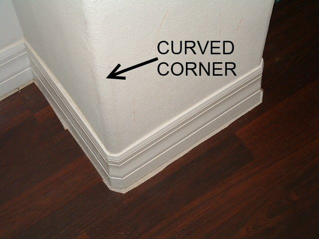 Installing quarter round on round corners this shows the - Wallpapering around a curved corner ...