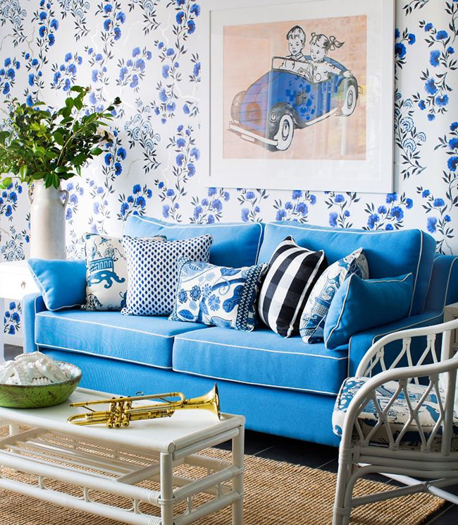 Tina Kents Playroom In Adore Magazine Wallpaper Is Amrapali Jacaranda Delft By Designers Guild