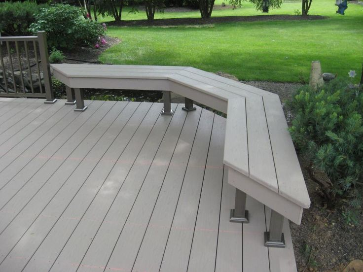 Ground level deck with built in bench composite deck for Building a composite deck
