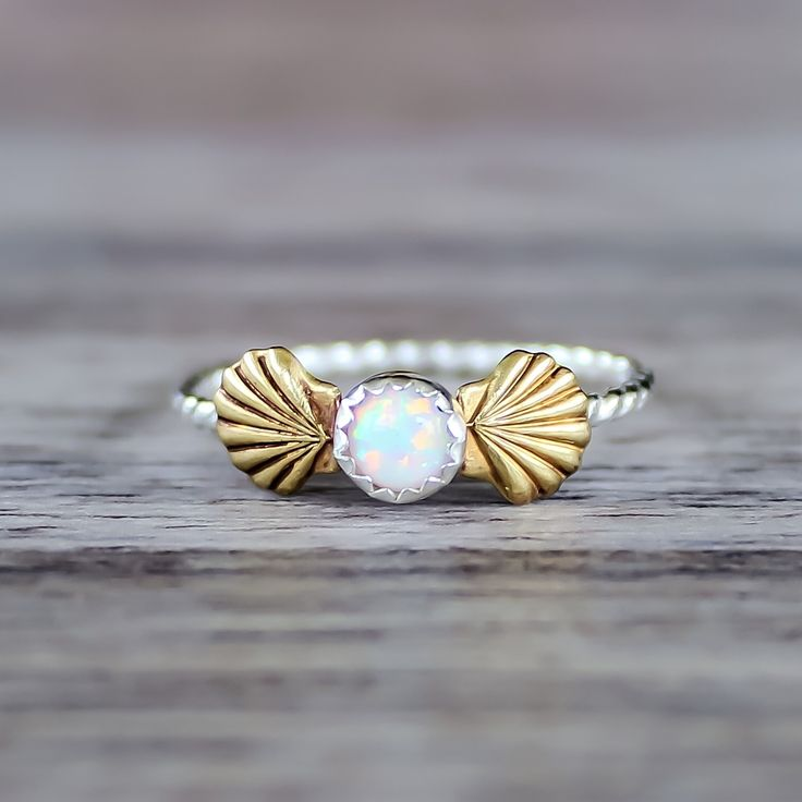 Mermaid Sea Shells and Opal Ring