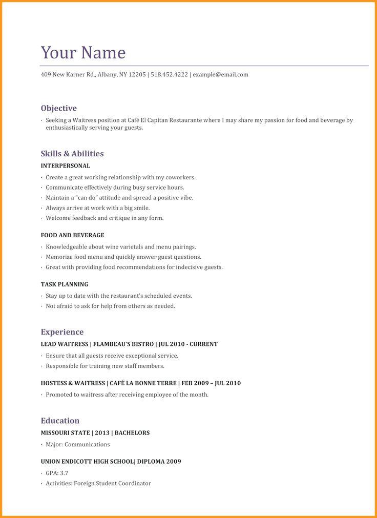 Sample Cv For Restaurant Waiter Gallery - Resume Examples