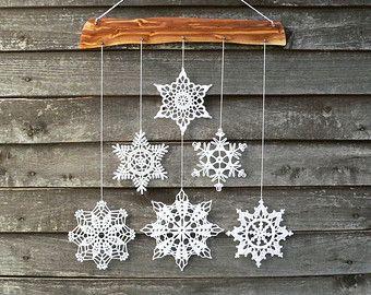 Fiocco di neve di Natale Decorazione - fiocchi di neve mobile - Natale home decor - decorazioni di muro - e legno ornamento per la casa