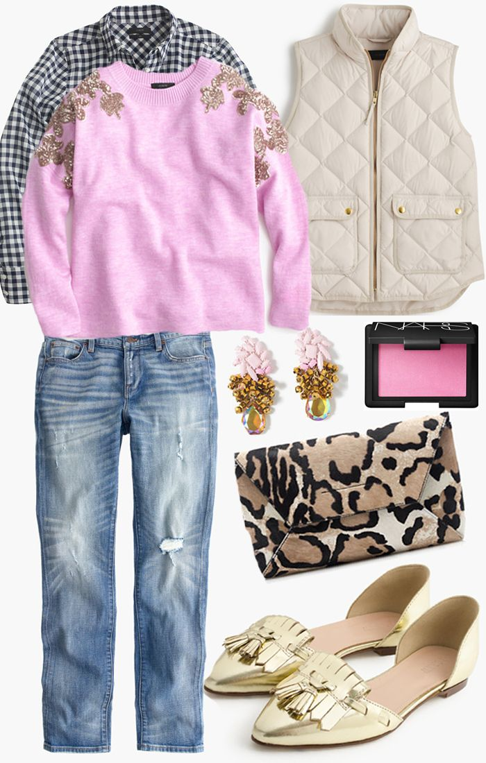 An Easy J. Crew Outfit For Fall  gold flats | leopard clutch | puffer vest | distressed denim | plaid shirt www.styleyoursenses.com