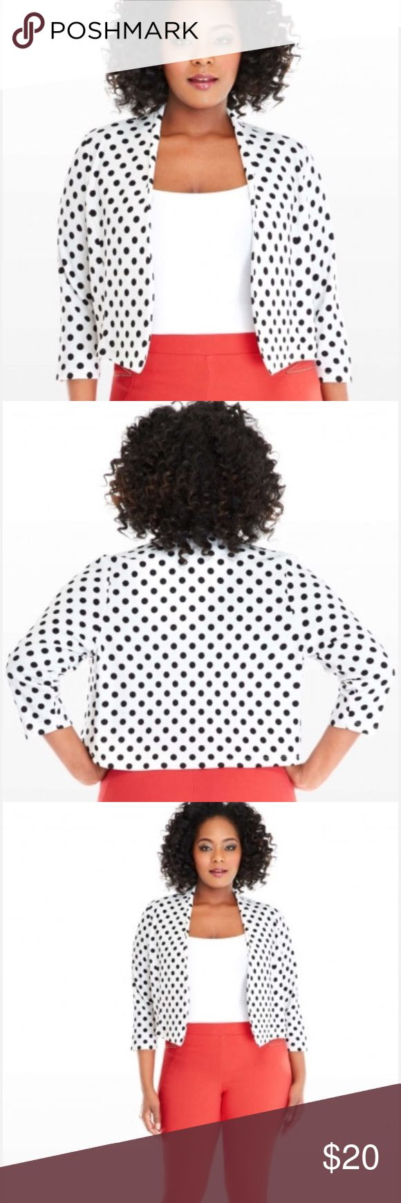 🆕 Black & White Polka Dot Plus Size Jacket 1X New with Tags! Never Worn                               Add a pop of polka dots to your routine with the Robyn jacket, an effortlessly chic (yet playful) layer that's ultra-cool with bright red pants and a crisp, white tank. Open silhouette, three-quarter sleeves. Fashion to Figure Jackets & Coats Blazers