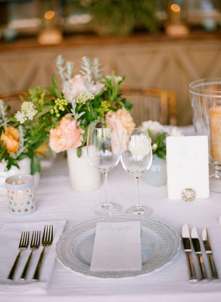 Clic Outdoor Wedding Table Design Soft Gray Plates Pink Garden Roses