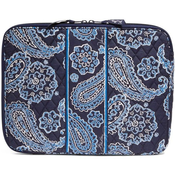 Vera Bradley Laptop Sleeve in Blue Bandana ($38) ❤ liked on Polyvore featuring accessories, tech accessories, blue bandana, tech, padded laptop case, vera bradley, vera bradley laptop case and blue laptop case