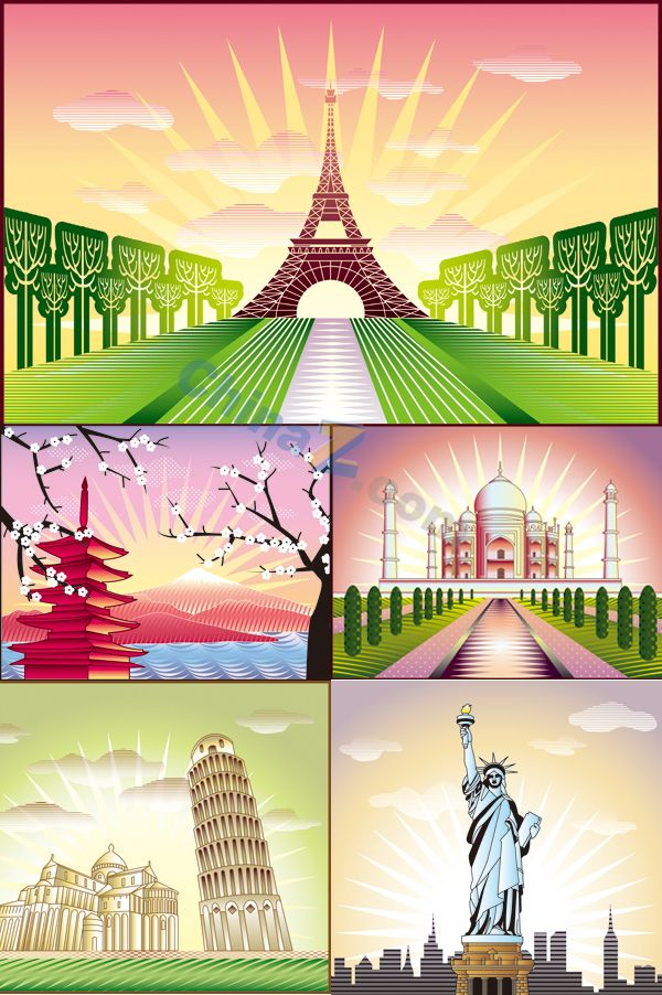 Painted landscape vector map of the world download | Vector concept