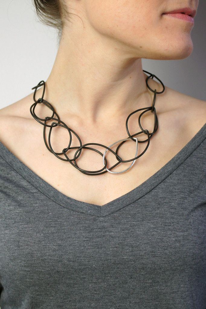 Eleanor necklace in steel and silver // megan auman