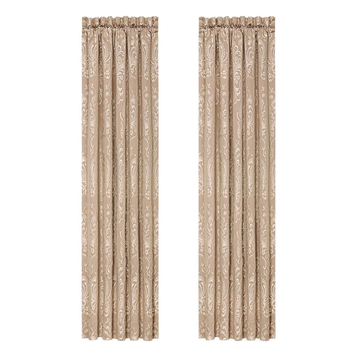 Five Queens Court Maureen Tan Curtain Panel Pair (50x84 in pair, Tan), Size 84 Inches (Polyester, Damask)
