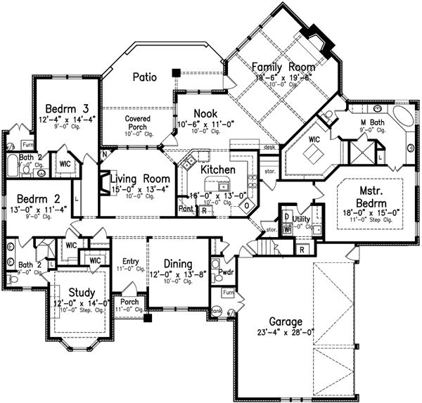 6000 square foot house plans one level for 4 bedroom house plans one story
