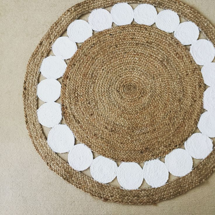 Hand painted natural jute rug in Dulux Lexicon Quarter.