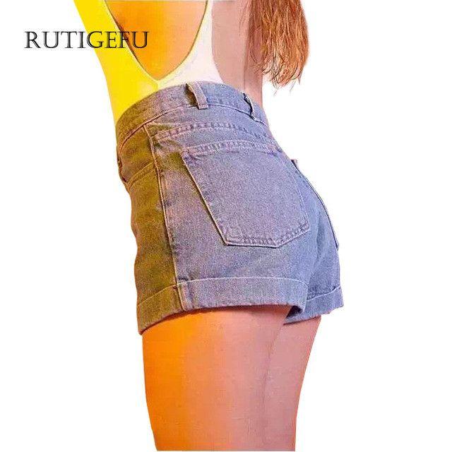 RUTIGEFU Summer ladies Denim shorts 2017 new Women casual high waist denim shorts Retro crimping Slim Hot all-match jeans shorts