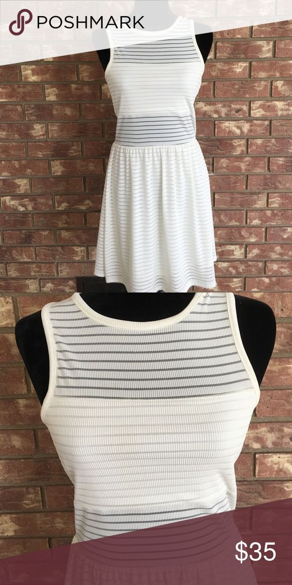 Cream Striped Formal Dress Worn once. Perfect condition. Seethrough midriff. Stretchy. Comfy. Perfect for date night or an evening out. GB Dresses Midi