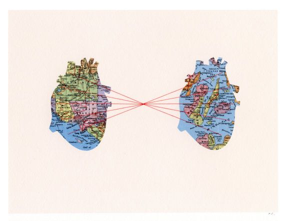 "Artist: Selflesh (etsy) Title: 'Two Hearts' ~ Medium: Map collage, ink, custom embroidery ~ Size: 8"" x 10""  ~ This piece was chosen for the artist's use of line to direct the viewer's eye from one heart to another, and more specifically from one city to another."