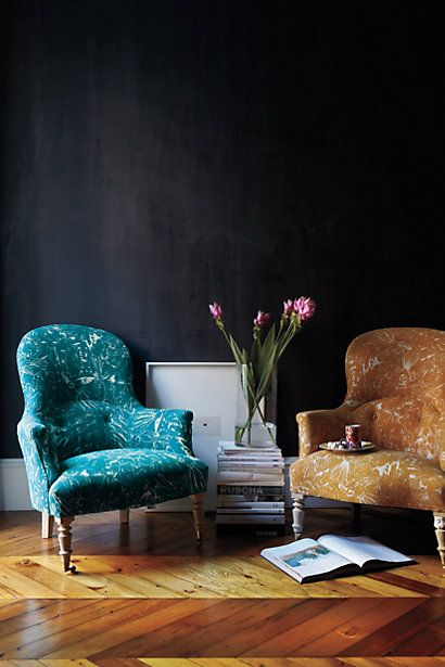 Just the right chair, comes in Red Mustard or Deep Teal color.   -Printed Parker Armchair #anthropologie