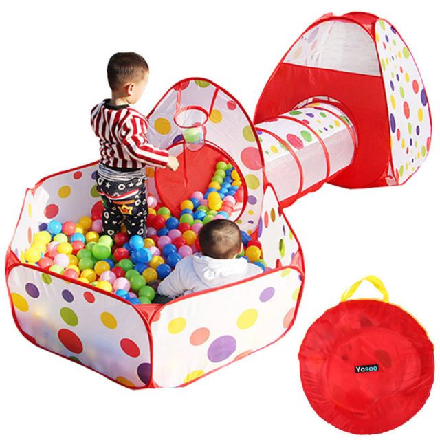 Portable Kids Indoor Outdoor Play Tent Crawl Tunnel Set 3 in 1 Ball Pit Tent US   eBay