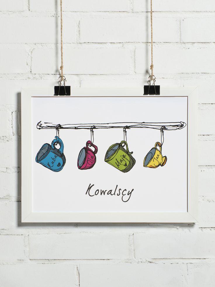 Plakat z możliwością personalizacji imion i kolorów oraz ilości kubków.
