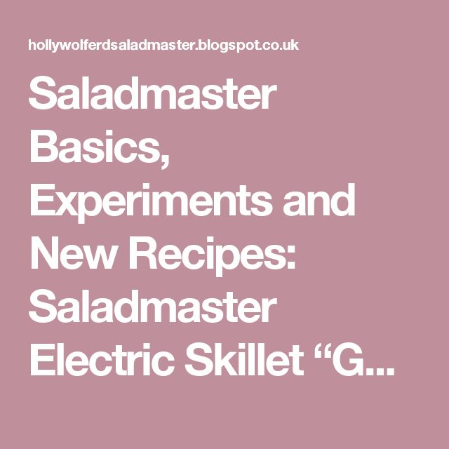 "Saladmaster Basics, Experiments and New Recipes: Saladmaster Electric Skillet ""Gourmet Quickies"""