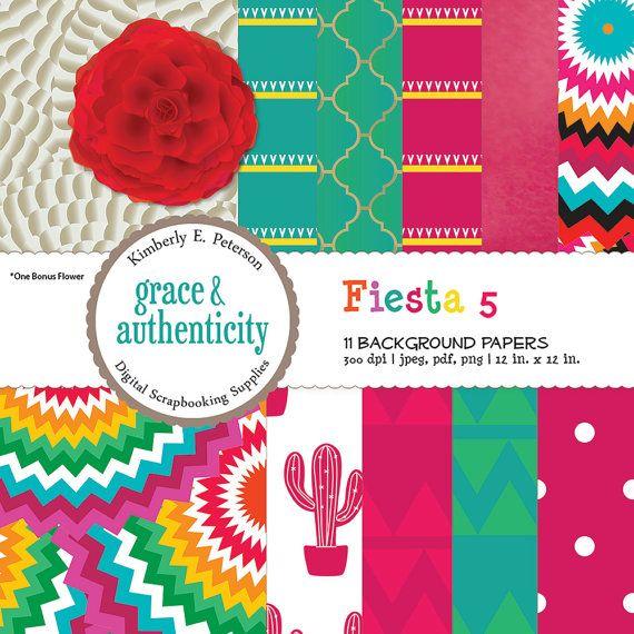 Fiesta Digital Scrapbook Paper  Pink and by graceandauthenticity