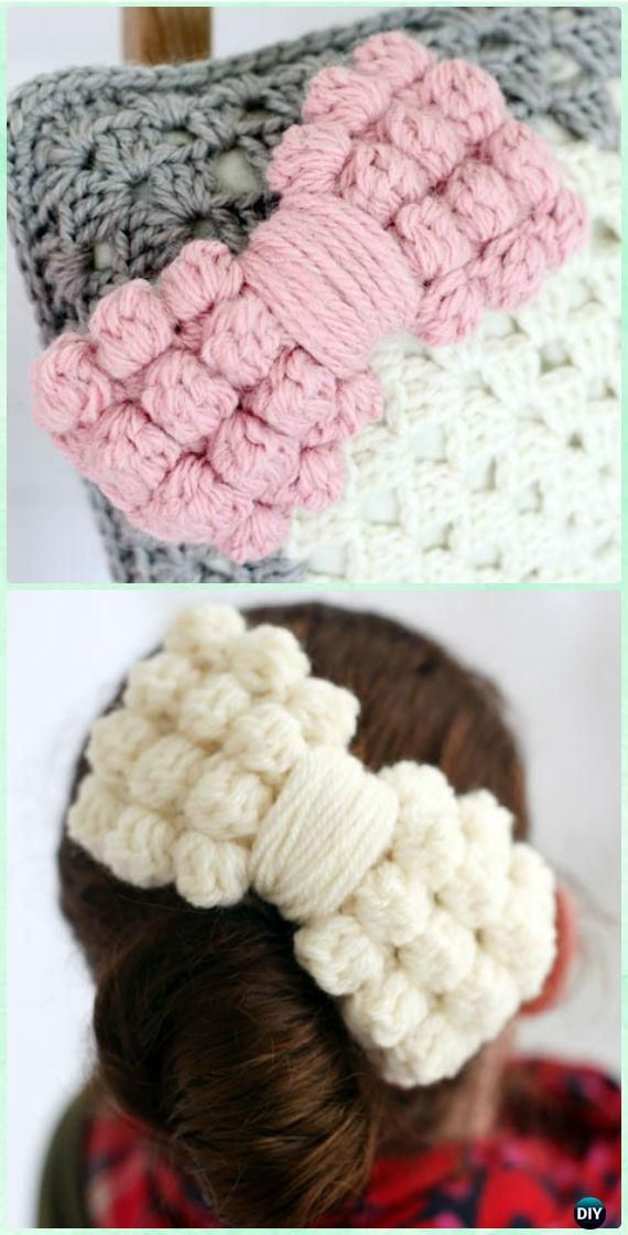 Crochet Bobble Bow Free Pattern - Crochet Bow Free Patterns
