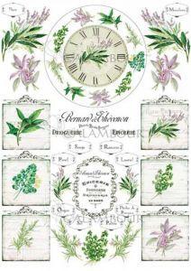 TCR 17 - papier ryżowy -zegar, zioła