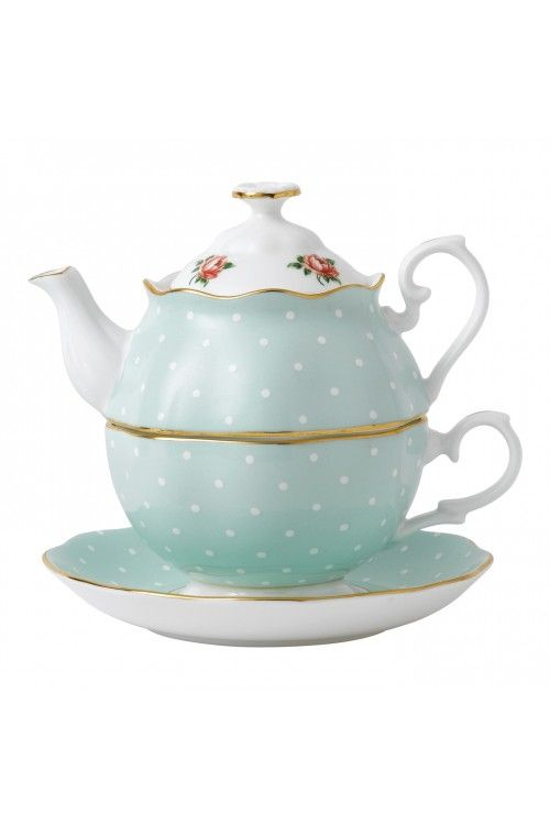 Royal Albert Polka Rose Tea for One.  At Waterford Wedgwood Royal Doulton, Tanger Outlets, San Marcos, TX or call 1-800-203-4540 or 512-396-4025.  We ship.