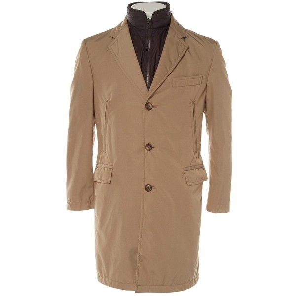 Pre-owned Fay Trenchcoat ($313) ❤ liked on Polyvore featuring men's fashion, men's clothing, men's outerwear, men's coats, beige, men clothing coats, mens trench coat, mens beige trench coat, mens raincoat trench coat and mens rain trench coat