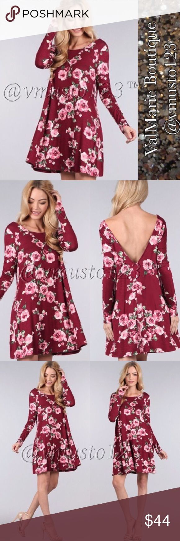 """PREMIUM BURGUNDY FLORAL SWING DRESS MADE IN USA- PREMIUM COLLECTION  SUPER CHIC & FLIRTY LOW BACK FLOWY SWING DRESS - PERFECT FOR VALENTINES DAY❤️️ Made in a comfy, rayon jersey knit.   FEATURES: Deep V Back, long sleeves, and swing fit. Pair up with boots or flirt it up with heels & tights  APPROXIMATELY 34""""- S(2-4) M(6-8) L(10-12) fits true to size, a little flowy   ‼️PRICE ABSOLUTELY FIRM‼️ THESE ARE MADE IN USA  BOUTIQUE QUALITY YOU MAY BUNDLE FOR A DISCOUNT ValMarie Boutique Dresses"""