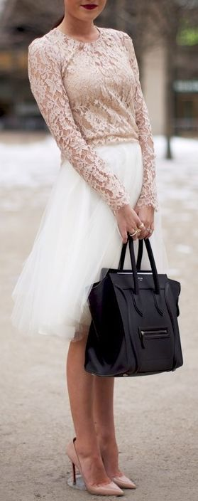 Blush Lace Blouse and Tulle Skirt