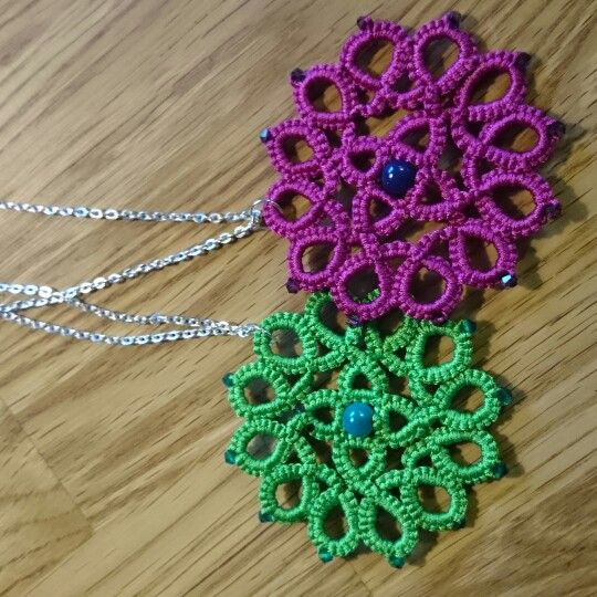 Needletatted mandala in beautiful neon colors and miracle beads!