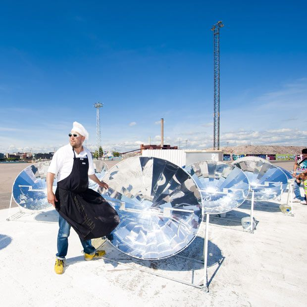 Chef Antto Melasniemi Solar Kitchen Restaurant in Helsinki, where cooking is done using purely solar energy.
