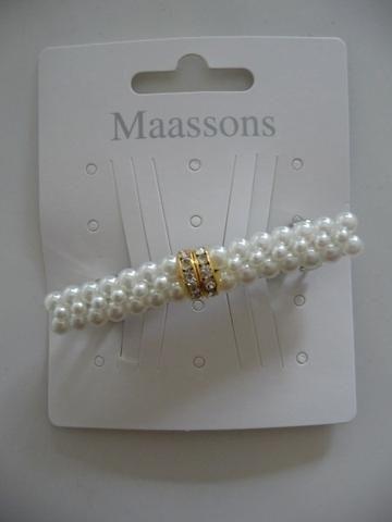 MAASSONS Haarspeld ivoor parels met  goud strass