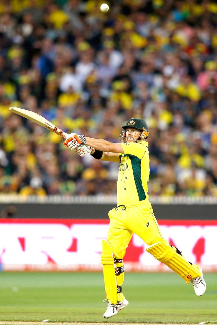David Warner of Australia bats during the 2015 ICC Cricket World Cup final match between Australia and New Zealand at Melbourne Cricket Ground on March 29, 2015 in Melbourne, Australia.