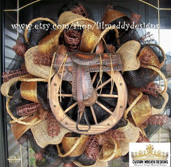 Western Saddle Mesh Wreath by lilmaddydesigns on Etsy, $125.00