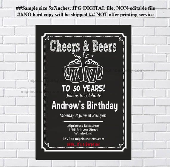 Elegant Beer Birthday Invitation Party Invitation Cheers And Beers For