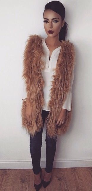White button up and fur vest