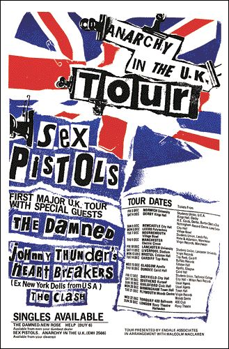 Sex Pistols, The Clash and The Damned, 1976 UK Tour Poster. Seventies / 1970s music