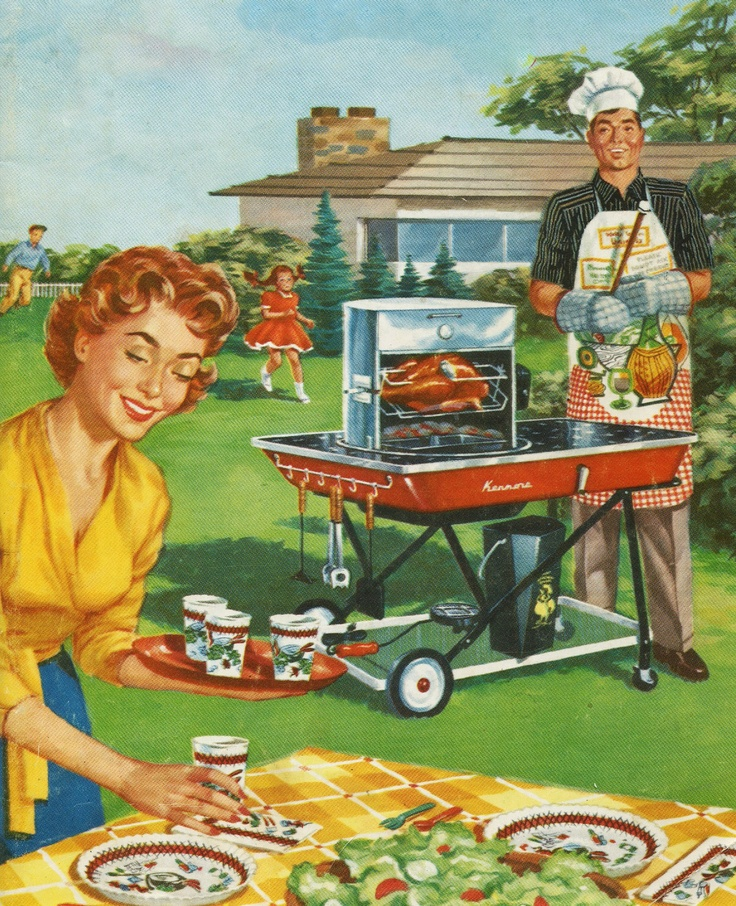 Let's Cook Outdoors - detail from Sears Kenmore barbecue promotional brochure.