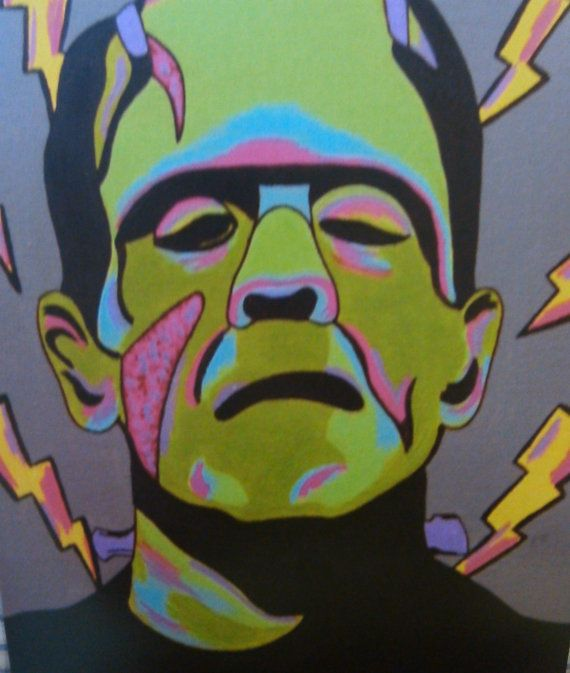 Pop Art Frankenstein 4x6 Inches Print Colorful Horror Fanart Lustre Finish Print Yellow Lightning Bolts Acrylic Artwork Classic Horror Movie