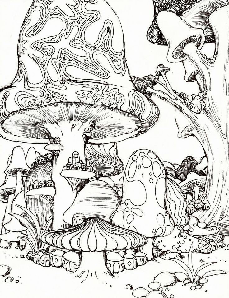 Psychedelic Mushroom Coloring Pages American Hippie -5740