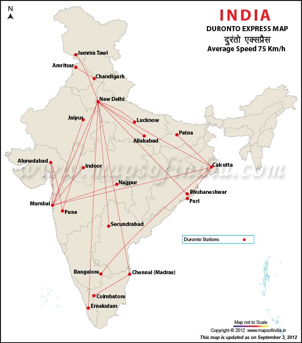 Duronto Express Map