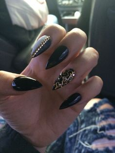 stiletto gel nails black gold - Google Search
