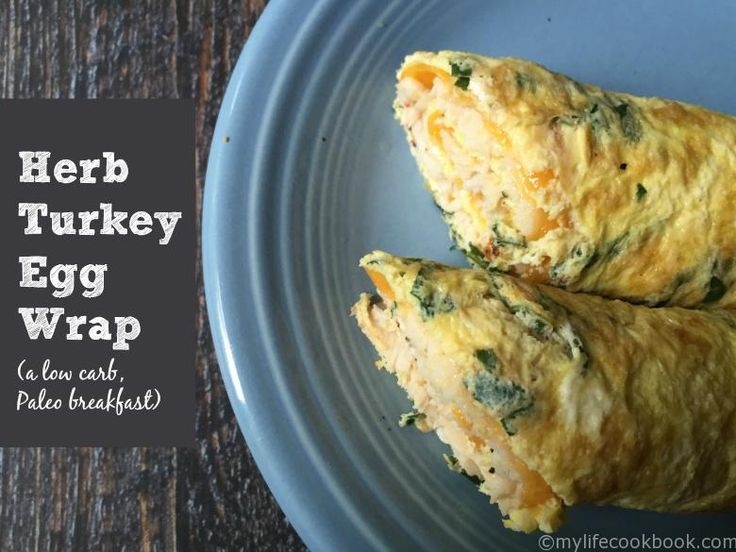 This herb turkey egg wrap is a delicious low carb breakfast. Making the wrap out of eggs and herbs and then filling with turkey and cheese.