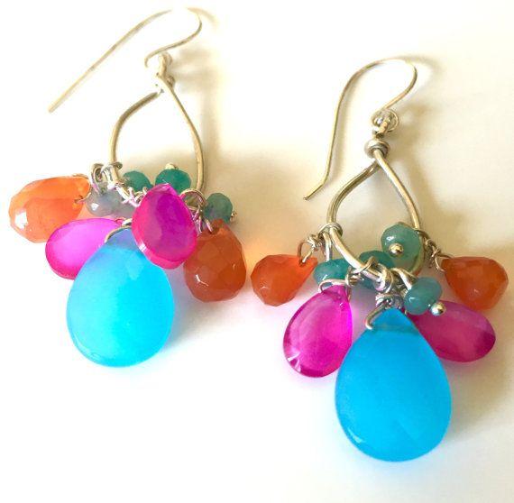 Boucles d'oreilles multi pierres précieuses boucles d'oreilles, Sterling et Briolette Gem - 41 $
