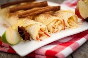 Apple Pie á la crepe. 2 servings (4 crepes).  NUTRITION DATA  Per serving (2 crepes): 270 calories, 18 grams protein, 36 grams carbohydrates, 6 grams fat