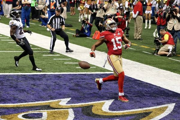 Images from Super Bowl XLVII(87 images)  Updated Feb 4, 2013 3:18 AM ET  Not over yet Michael Crabtree celebrates his touchdown in the third quarter that marked the 49ers' first TD of the game and cut the score to 28-13.    Derick E. Hingle - USA TODAY Sports